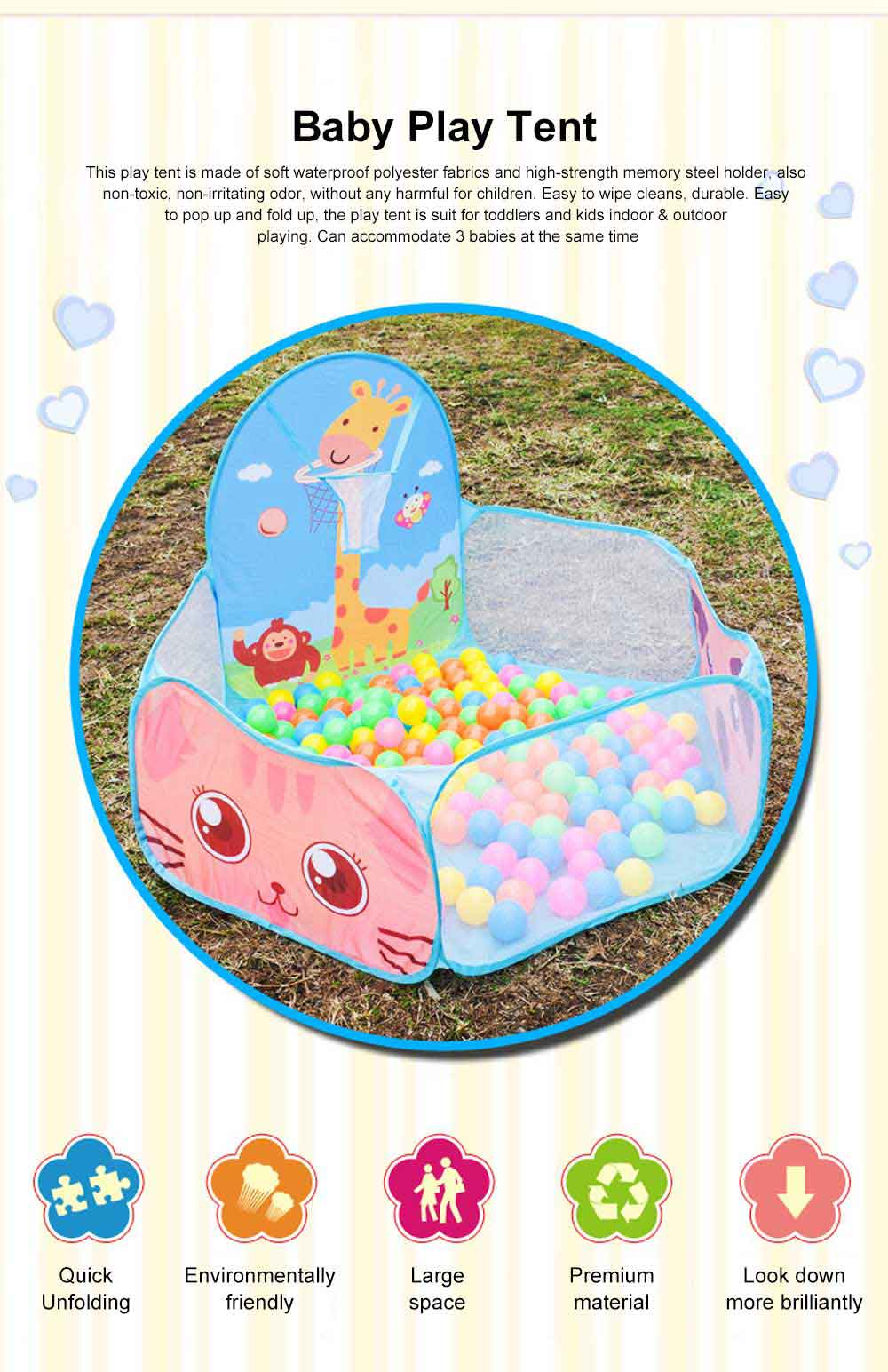 Baby Play Tent, Large Foldable Sea Ball Pits Pool with Basketball Hoopm, Baby Early Education Toys 0