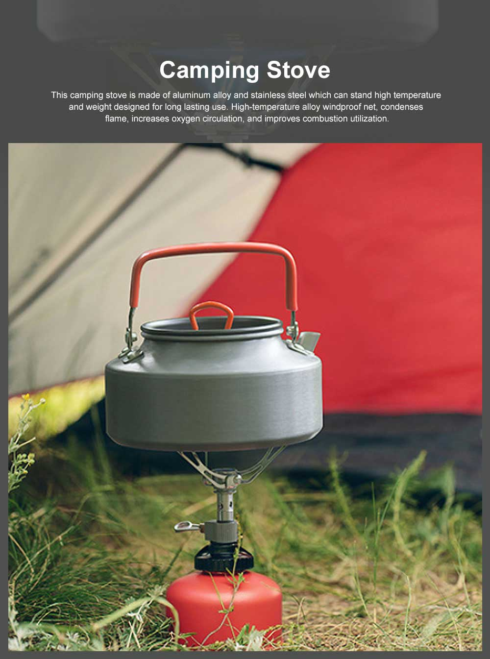 Portable Outdoor Camping Stove, Backpacking Aluminum Alloy Stove, Ultralight Folding Tripod Collapsible Stoves 0