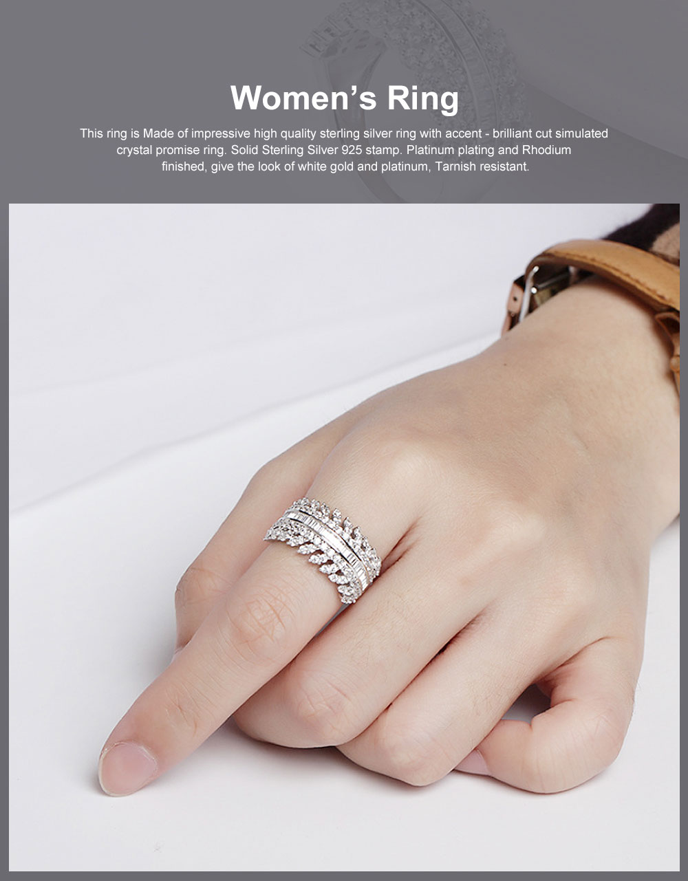 Women's Full Diamond Sterling Silver Jewelry Ring, 925 Sterling Silver Round Cut Crystals Rings for women 0