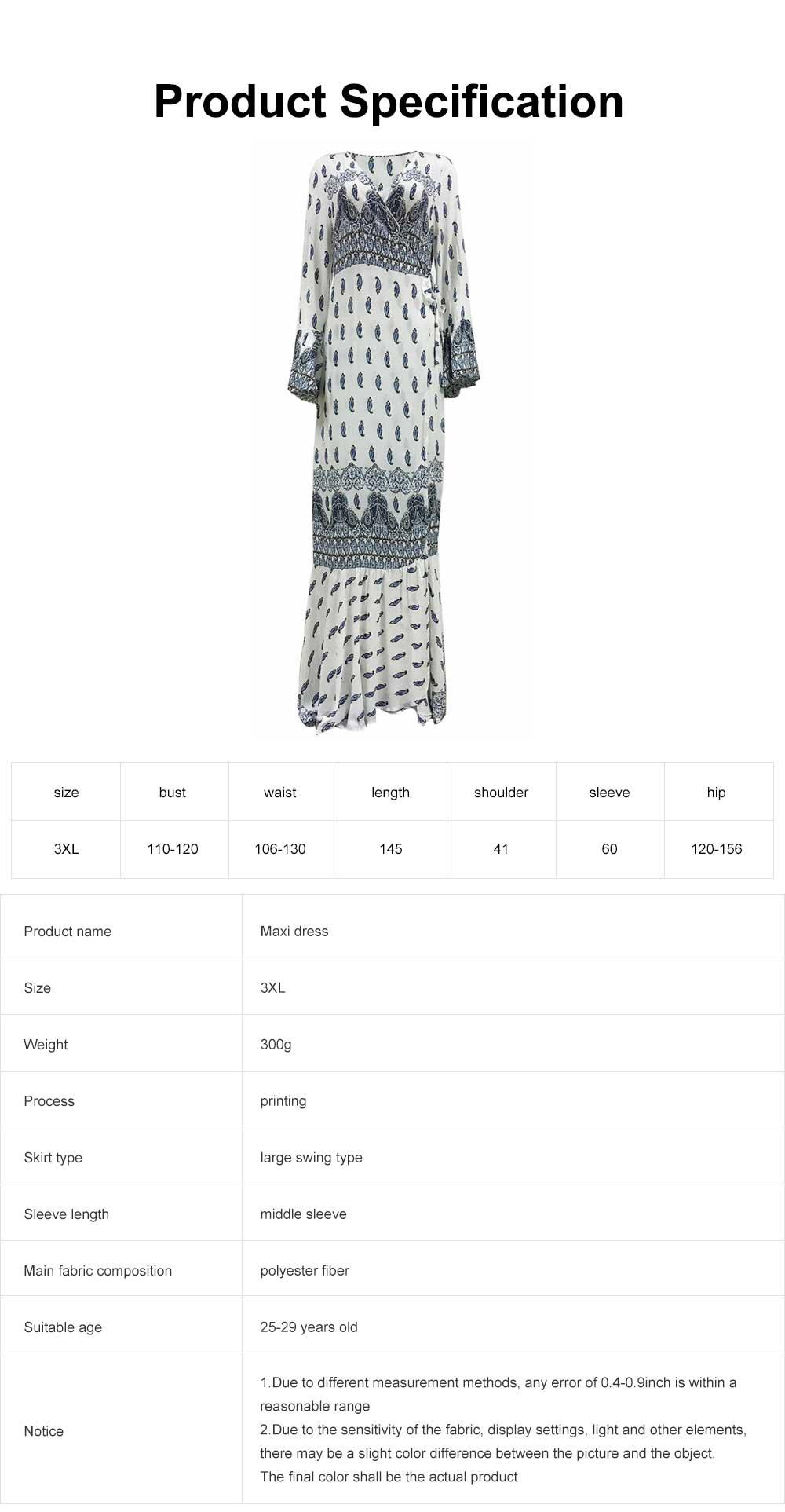 Women Large Size Long Dress, Floral Printed Maxi Dress Deep V-neck Irregular Dresses, Beach Dresses Bohemian Side Split Dresses 6