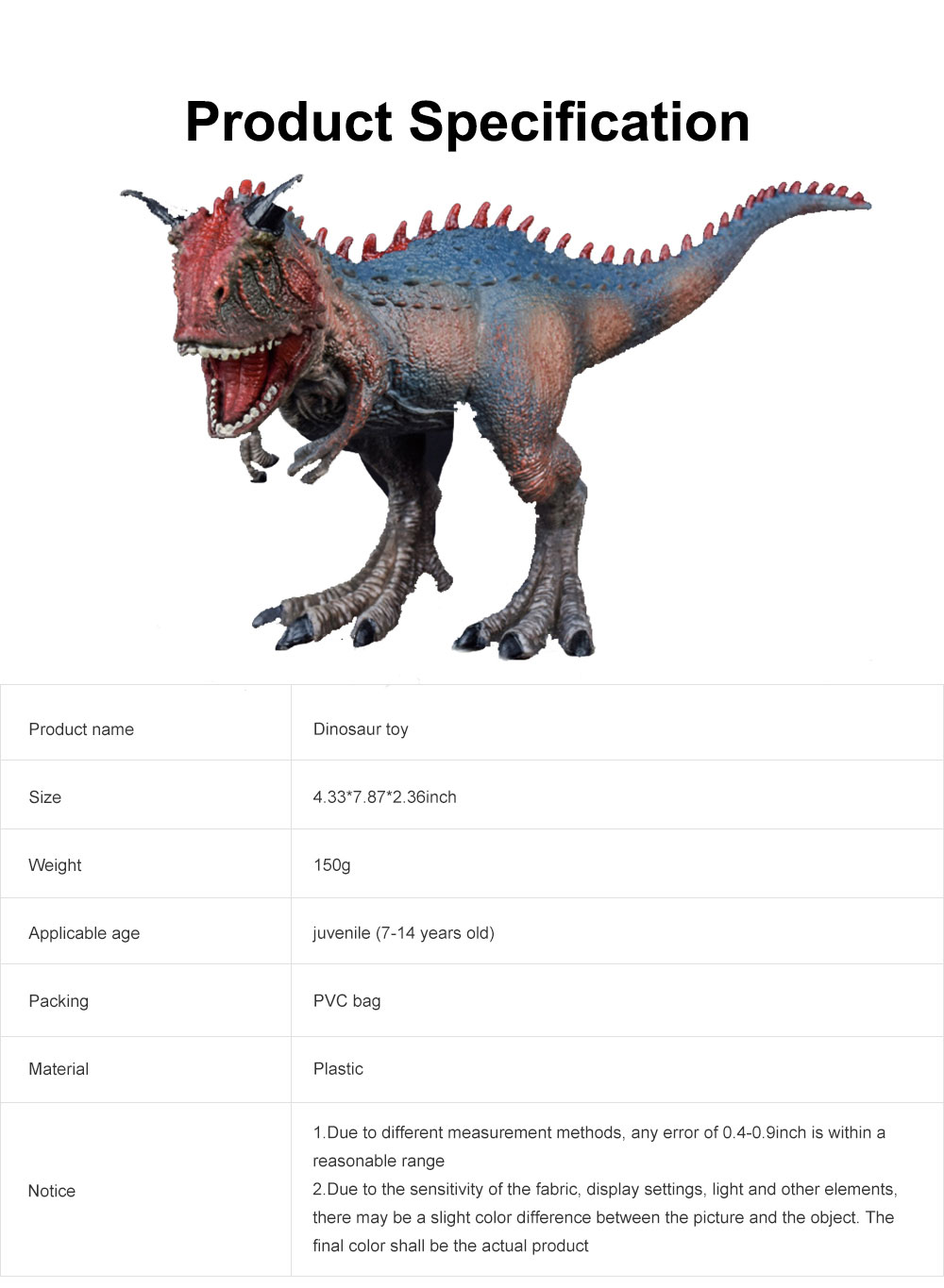 Carnivorous Cattle Dragon Dinosaur Toy, Solid Simulation Large PVC Dinosaur Model, Educational Realistic Dinosaur Figures Carnivorous Ox for Toddlers Kids 6