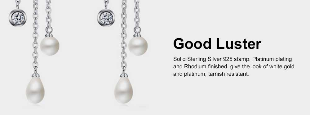 Women's Luxury Cloud Shape Sterling Silver Earrings, Dangling Temperament Pearl Long Pendant, Irregular Elegant Earring 5