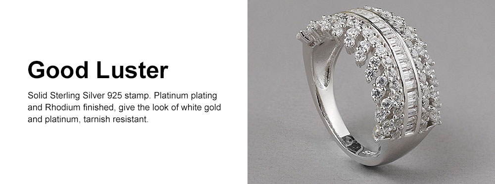 Women's Full Diamond Sterling Silver Jewelry Ring, 925 Sterling Silver Round Cut Crystals Rings for women 4