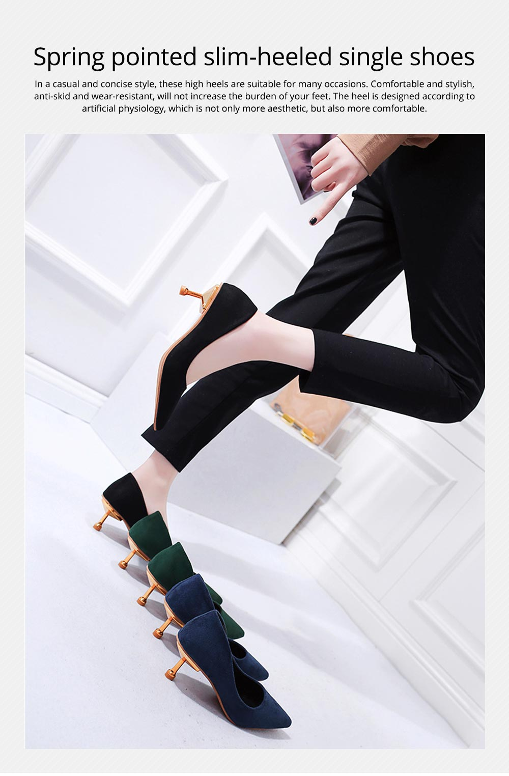 Spring Pointed Slim-heeled Single Shoes, Suede Ladies High-heeled Shoes in 2019, Lady's Black High-heeled Shoes 6CM 0