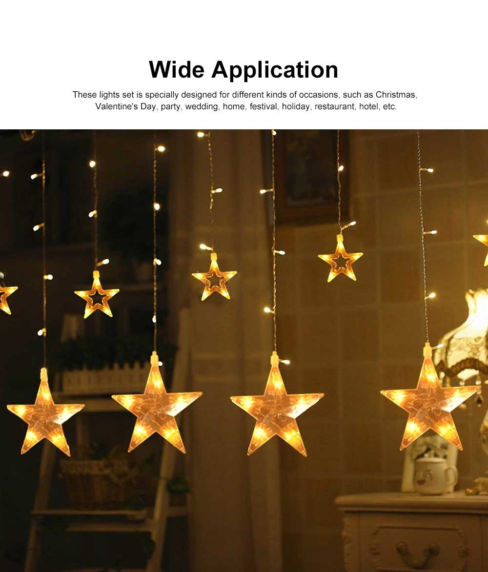 Star Curtain Light String Power Saving Waterproof IP65 LED Decor Lights 108 LED Star String Lights 8 Modes Stars Shaped String Lights with Remote for Indoor Outdoor 2