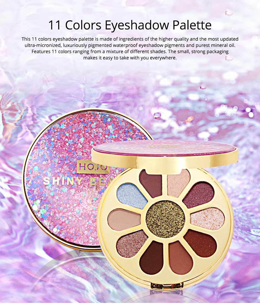11 Colors Round Eyeshadow Palette, Shiny Palette with Brush, Makeup Tools Best Gifts for Lady, Shimmer Eyeshadow 0