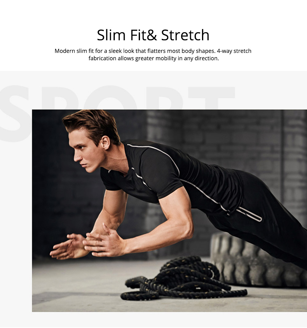 Men 2 Pieces Sports Suits, O-neck Slim Fit Workout Short Sleeve Sports T-short Cropped Pant with Zipper Pockets 1