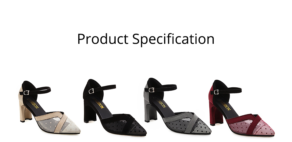 Lady Shallow Pointed Thick High Heels, One-word Buckle Hollow Single Shoe, Style Sandals 2019 Summer 6