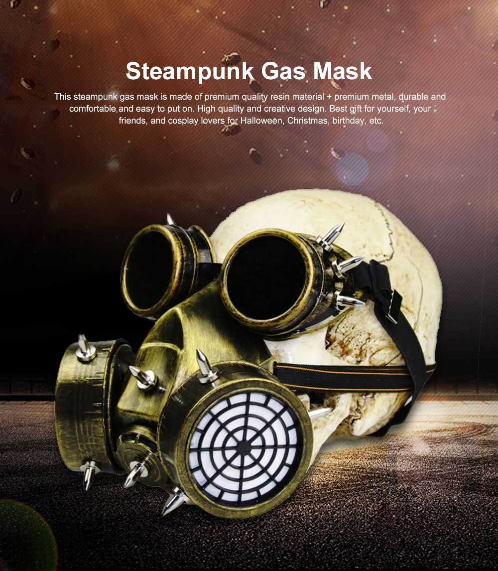 Steampunk Gas Mask Rivet Goggles Resin Skeleton Warrior Death Mask Masquerade Cosplay Accessories for Halloween Party Gift 0