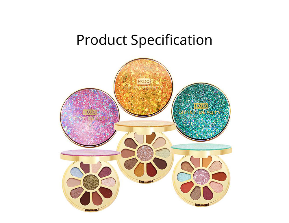 11 Colors Round Eyeshadow Palette, Shiny Palette with Brush, Makeup Tools Best Gifts for Lady, Shimmer Eyeshadow 6