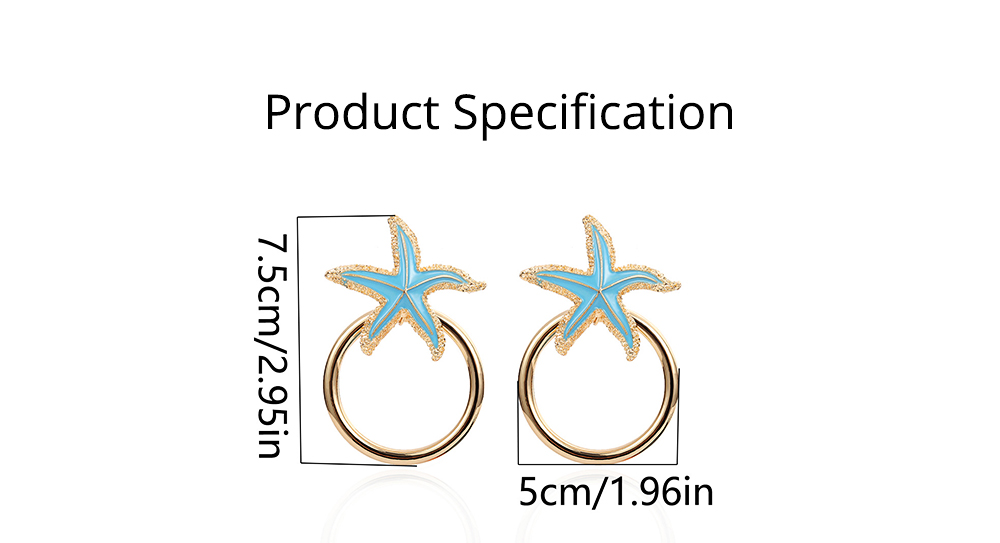 Starfish Earrings with Big Ring, Lovely Ocean Star Post Earring, Fashionable Earring for Girls Women Lady 5