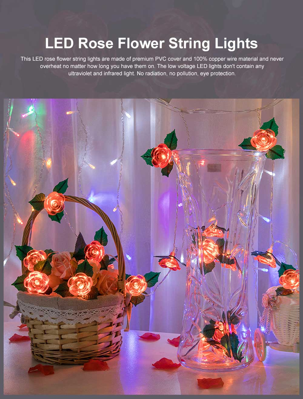 LED Rose Flower String Lights Copper Wire Battery Operated Lights Romantic Rose Lamp for Wedding Home Party Birthday Festival Indoor Outdoor Decorations 0
