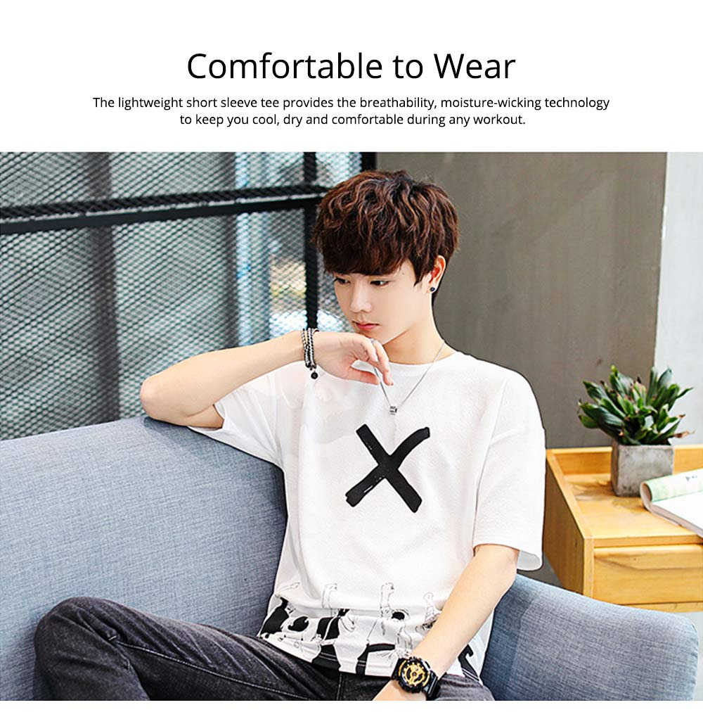Men's Casual T-shirt, Short Sleeve Men's Tees, Fashion Stretch Creative Pattern Quick-dry T-shirts for Men 2