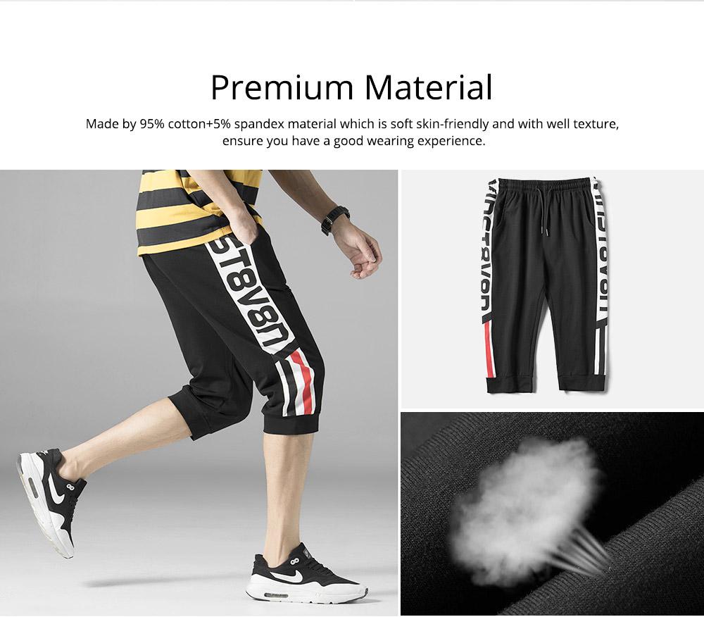 Men's Cotton Casual Shorts, Jogger Capri Pants, High Breathable Summer Short Pants with Drawstring Pockets 3