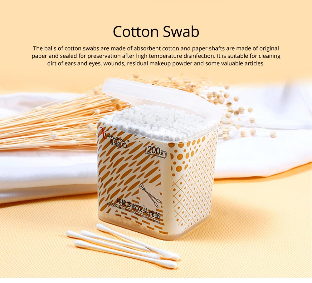 Cotton Swab in Barrel Packaging 200 Pieces, Multi-functional Cotton Swab for Beauty & Makeup Cleaning 0