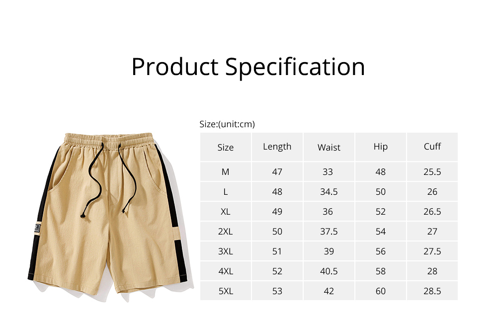 Men's Cotton Casual Shorts with Elastic Waist Drawstring, Classic Fit Short Summer Beach Shorts for Youth Men 6