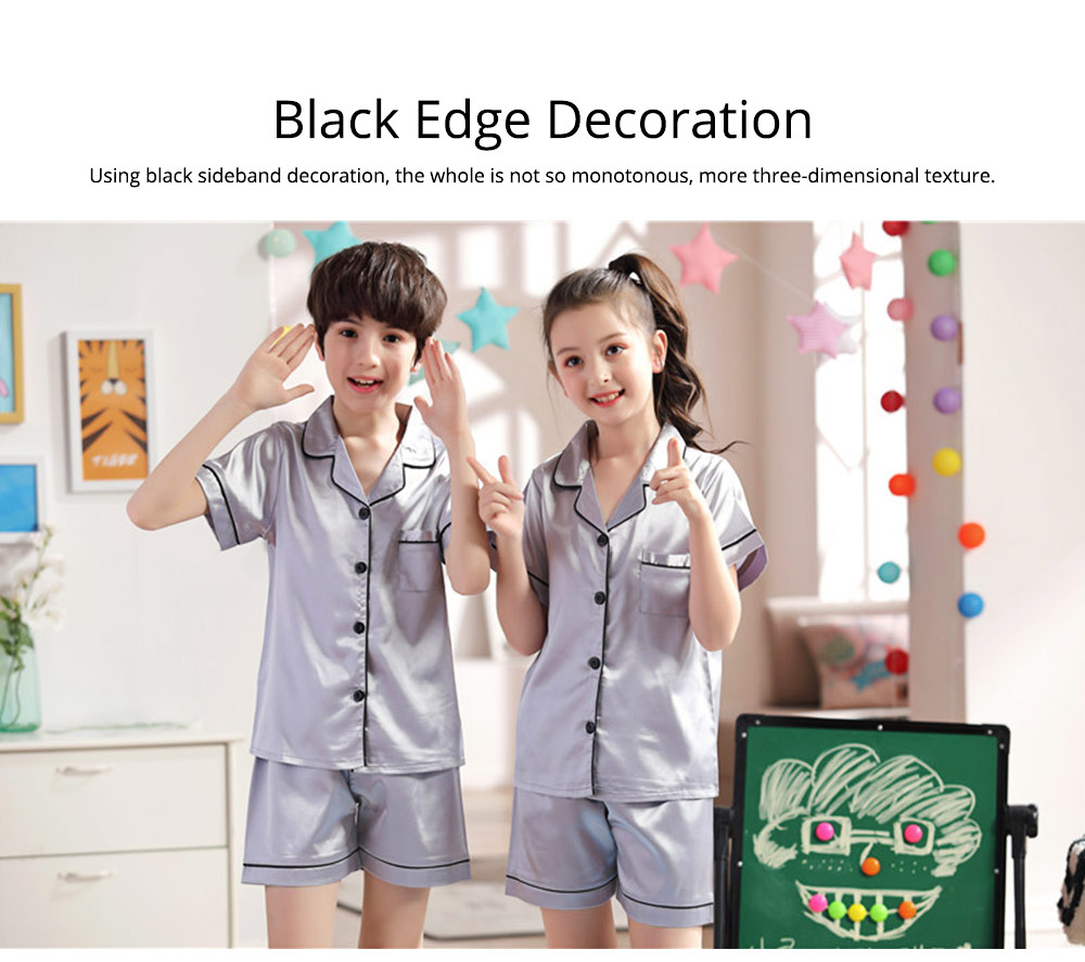 Summer Minimalist Pajamas Suit for Boys Girls, Open Shirts and Lapels Nightclothes, Silk-like Household Suit 6