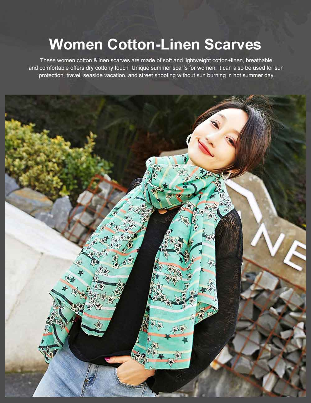 Women Cotton Linen Scarves Wild Print Sunscreen Beach Cover-up Shawl Fashion Accessories Best Gifts for women 0