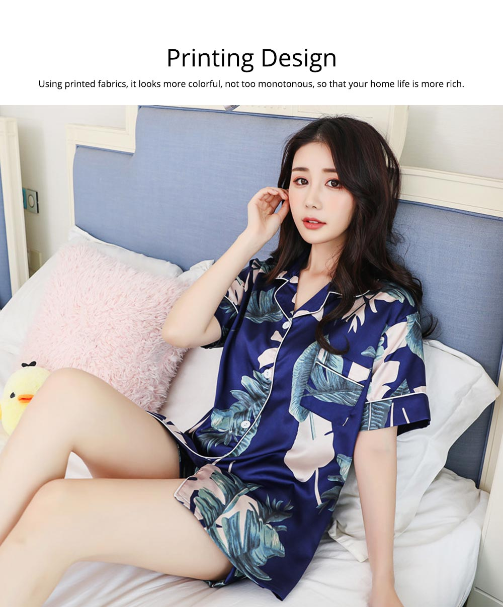 Women Summer Pajamas, Open-top Lapel Silk-like Short Sleeves, Printed Household Clothing for Lady Girl 4