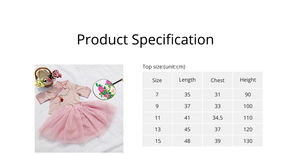 Baby Girls' Ethnic Sets Two-Piece Improved Hanfu Traditional Costume Stand Collar Embroidered Tops + Skirt 6