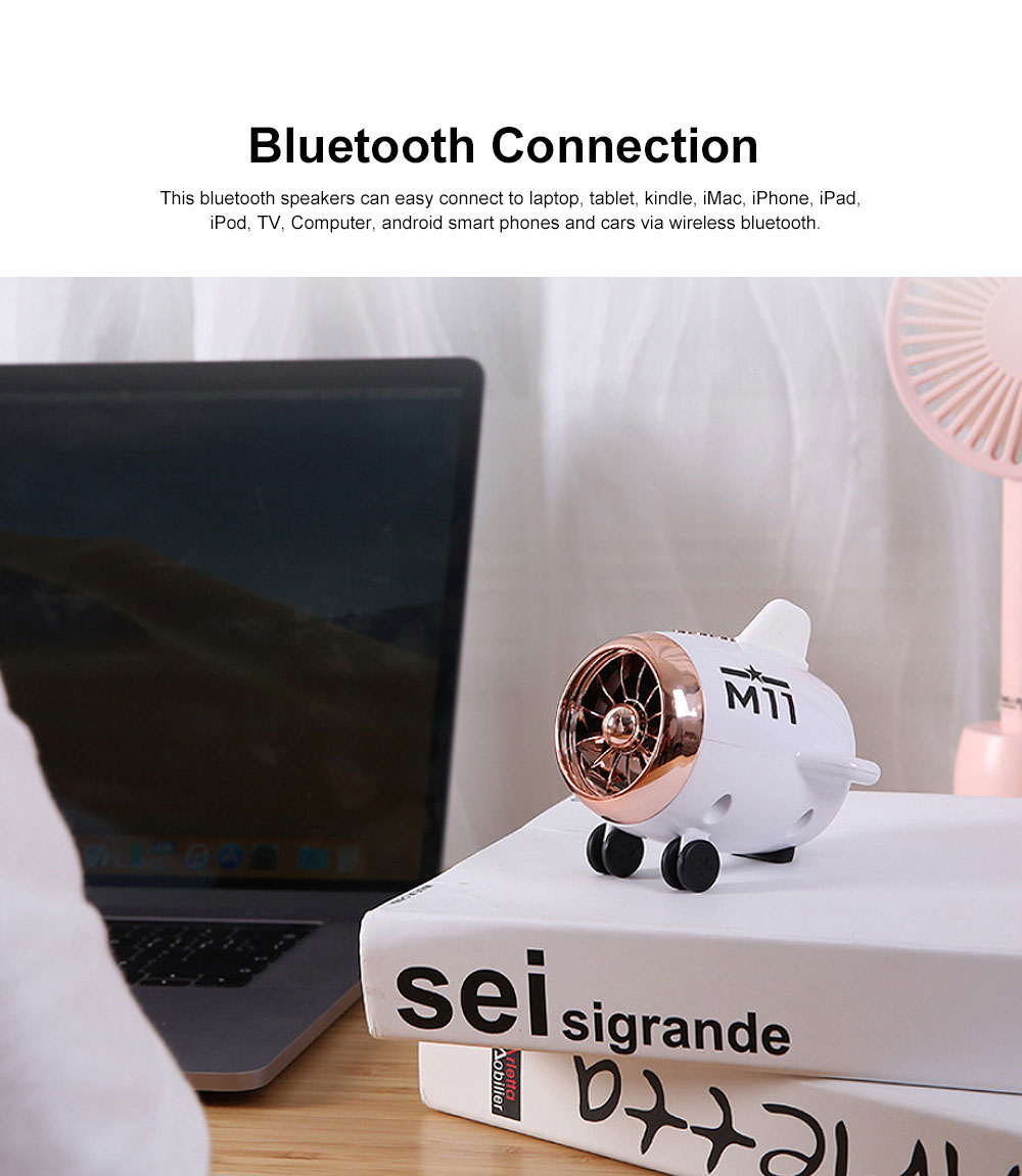 Bluetooth 5.0 Portable Speakers Cute Airplane Shape Mini Bluetooth Wireless Speaker with TWS Technology for iOS Android 5