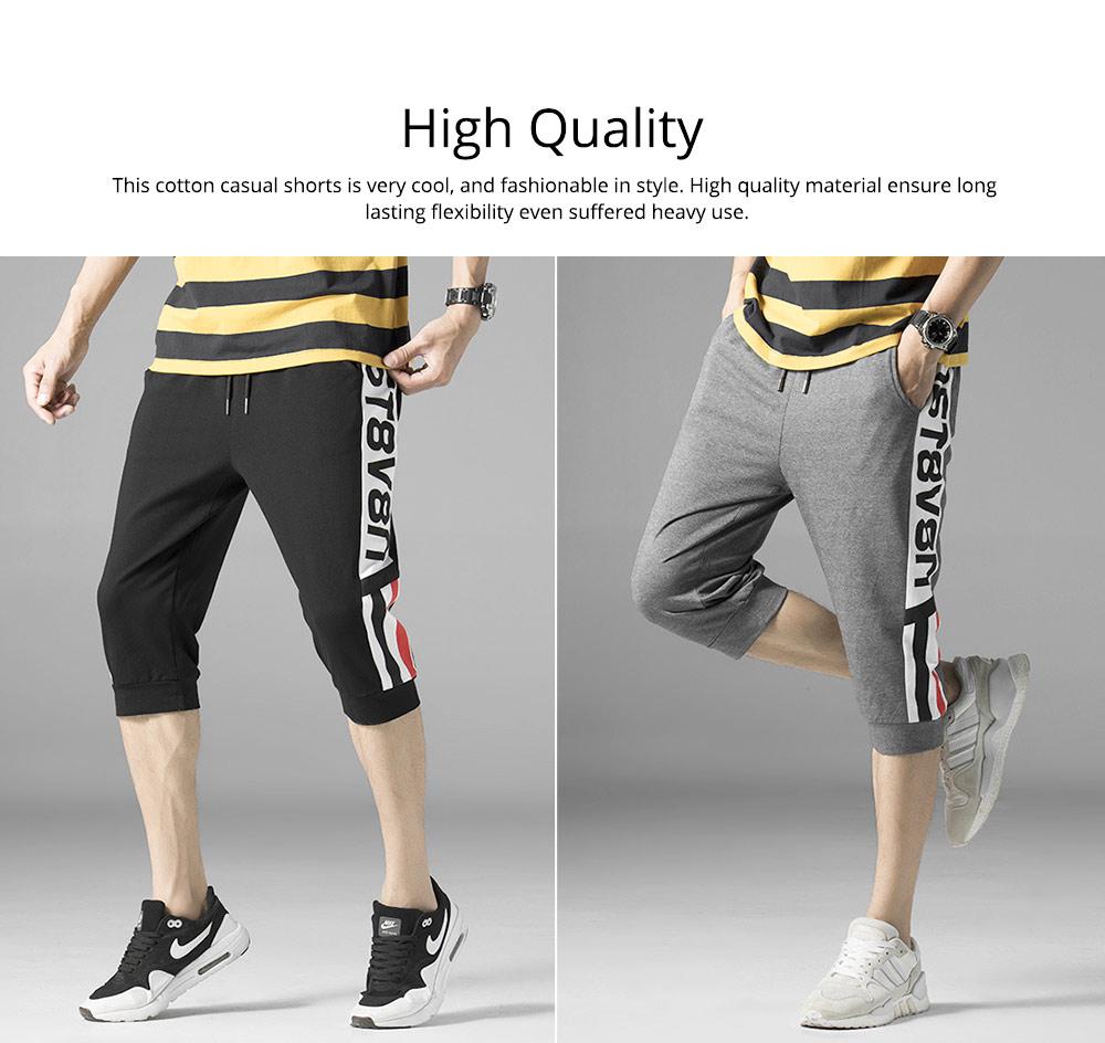 Men's Cotton Casual Shorts, Jogger Capri Pants, High Breathable Summer Short Pants with Drawstring Pockets 2