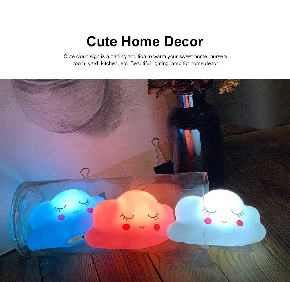 LED Cloud Shape Smile Night Light, Warm Lighting Colorful Bed Side Lights, Home Decor for Kids Baby Nursery Living Room Dorm 2