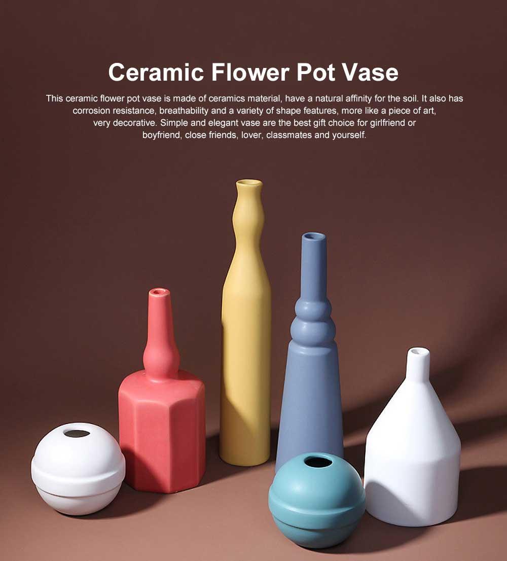 Ceramic Flower Pot Vase Matte Frosted Flower Pot Long & Short Pure Color Vase for Desktop Home Decor Gifts 0