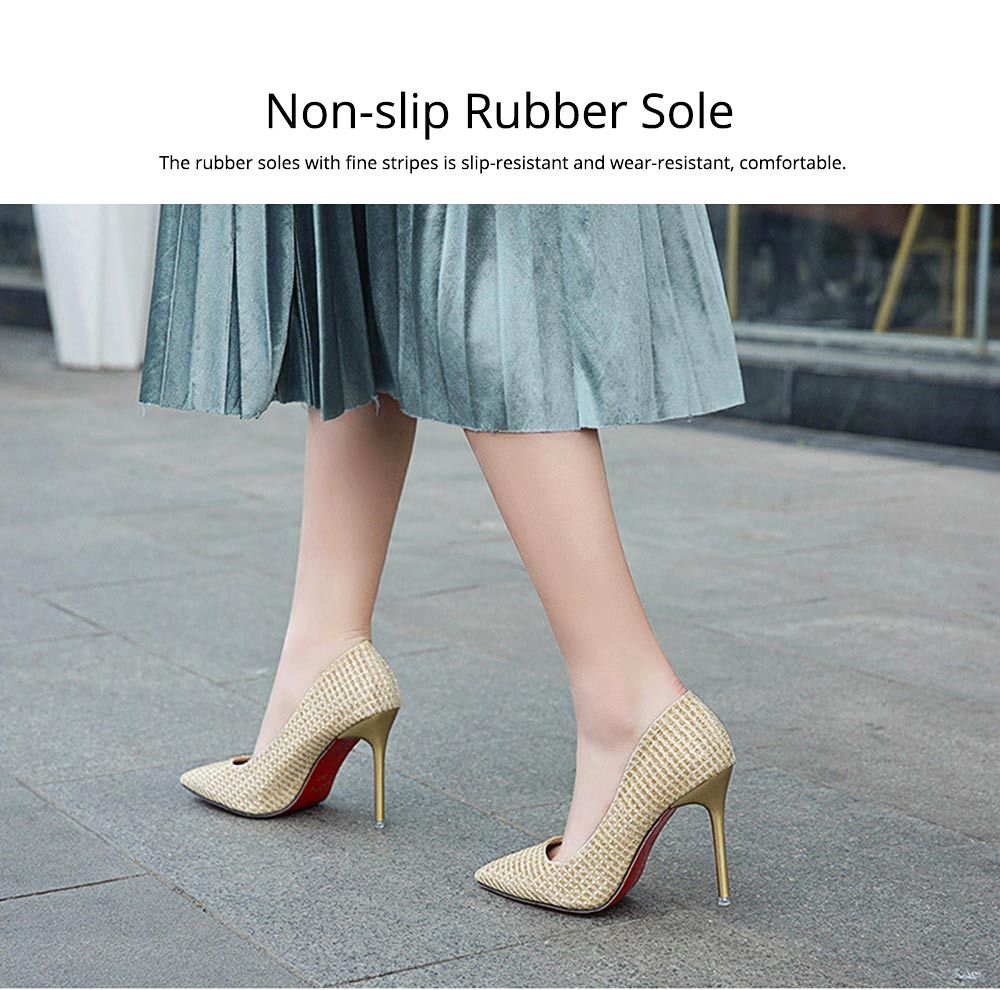 Women Pointy High-heeled Shiny Shoes, Shiny Heel for Wedding, Parties & Banquet High Heels 3