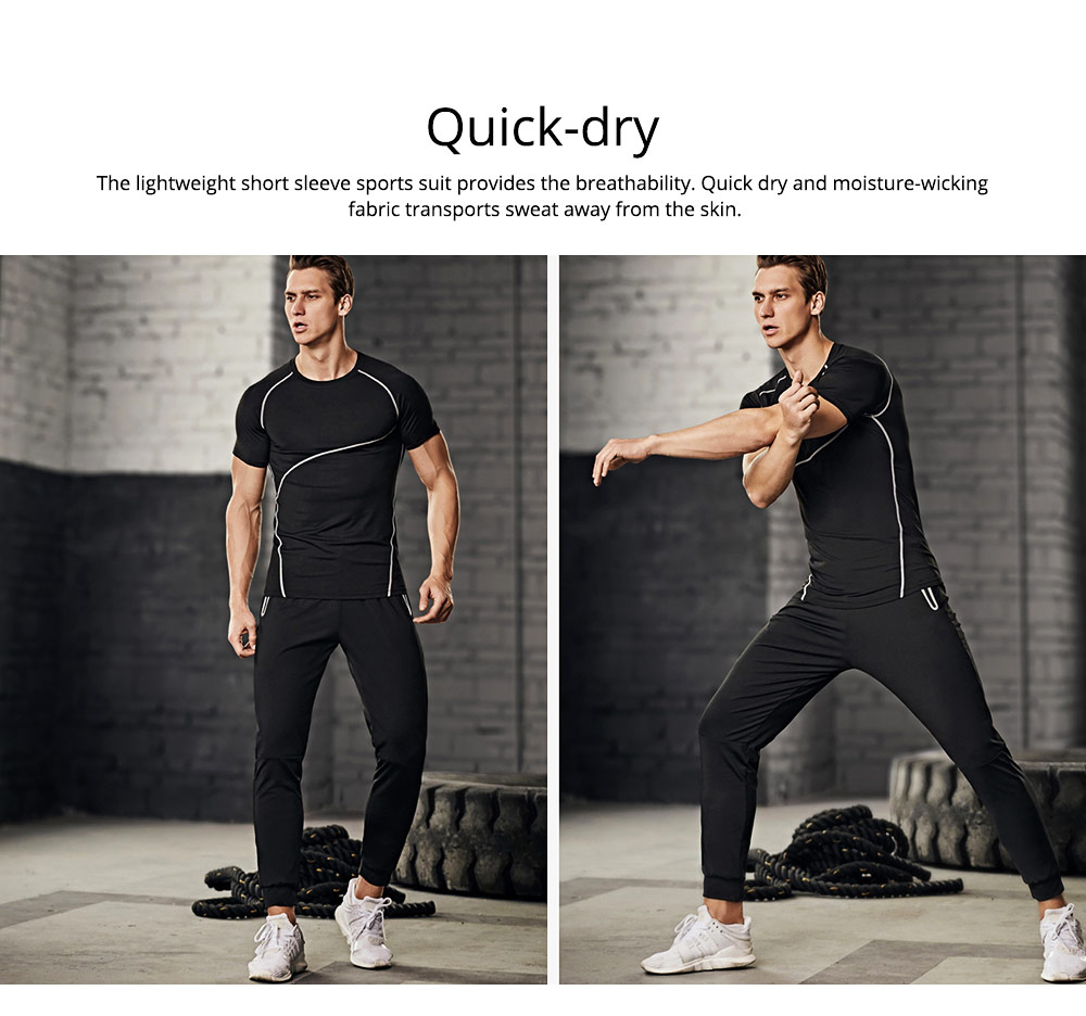 Men 2 Pieces Sports Suits, O-neck Slim Fit Workout Short Sleeve Sports T-short Cropped Pant with Zipper Pockets 2