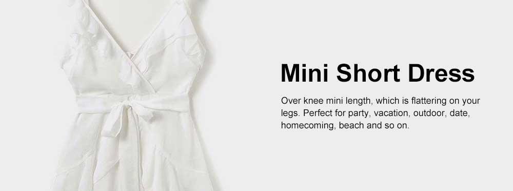 Women Summer Mini Dress Ruffle V-neck Side Split Sleeveless Boho Dress High Waist Tie A Line Sweat Beach Dresses Best Gifts for Women 5