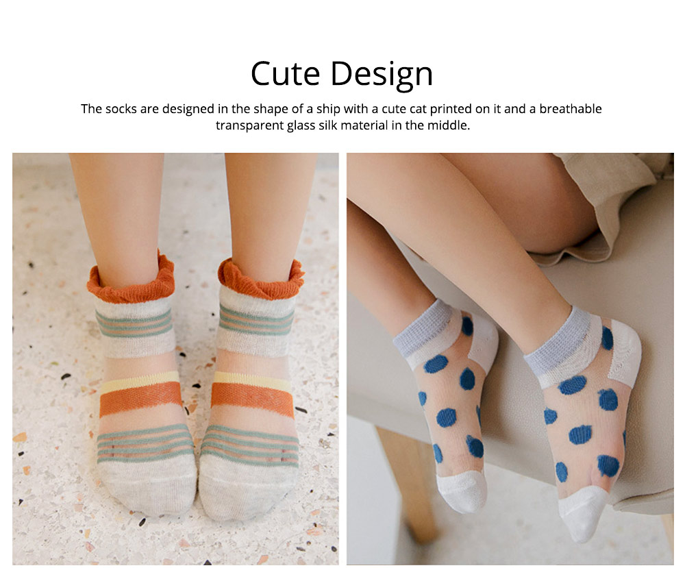 5 Pairs Baby Boy Girl Ankle Socks, Anti Slip Non Skid Breathable Cotton Summer Socks, Cute Cat Pattern Kids Accessories 1