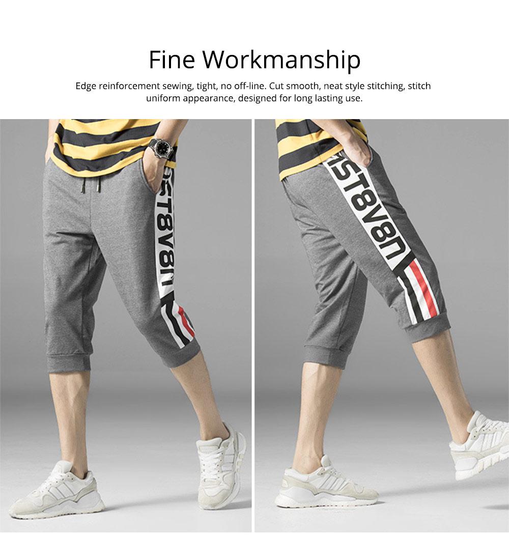 Men's Cotton Casual Shorts, Jogger Capri Pants, High Breathable Summer Short Pants with Drawstring Pockets 4
