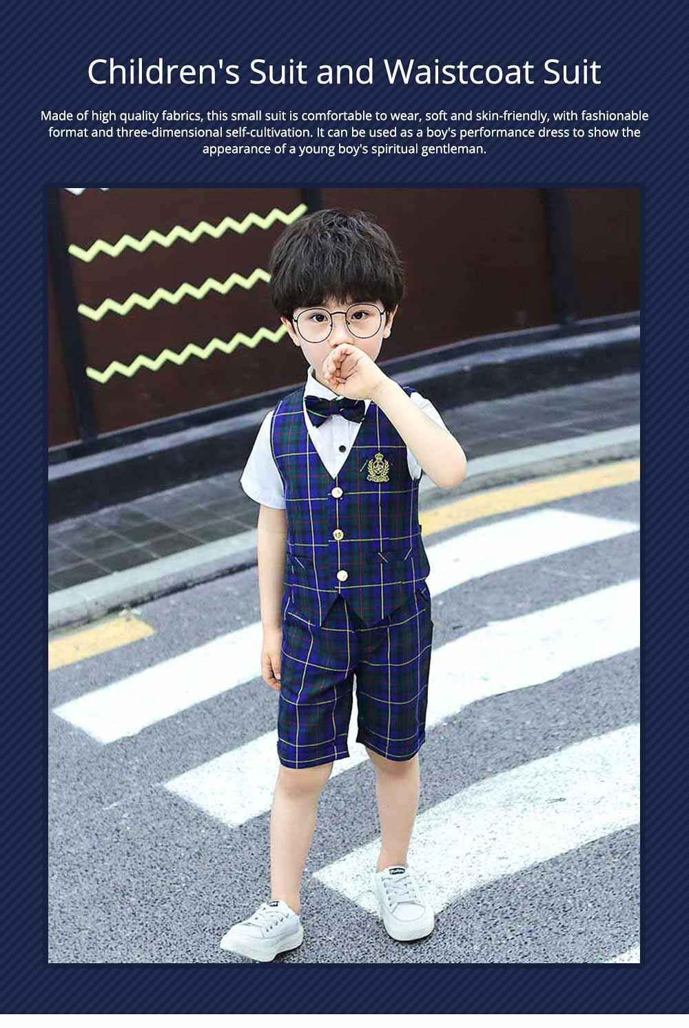 Children's Suit Waistcoat Suit, Korean Flower Children's Dress Suit, Handsome Boy Suit 0