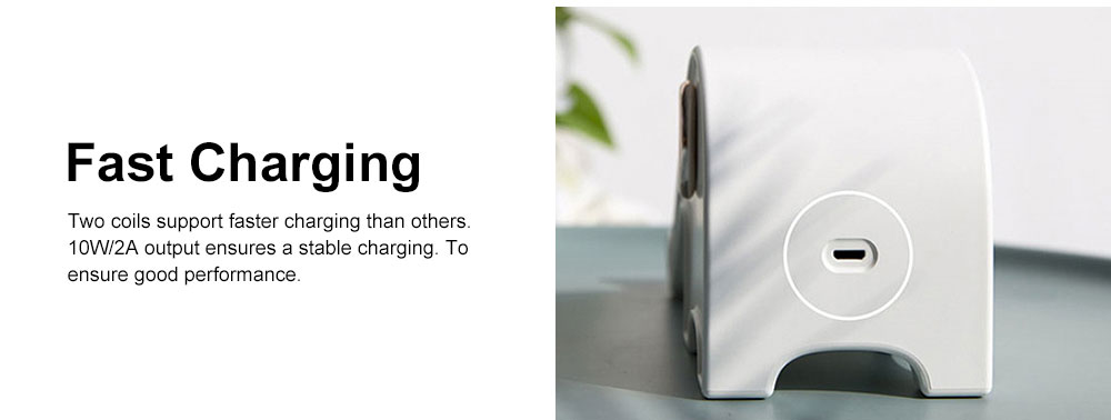 Elephant Wireless Charger Stand Fast Charging Phone Holder Set Base Kit for iphone X, iphone 8, iphone 8 Plus, Samsung, Nexus, Nokia etc 4