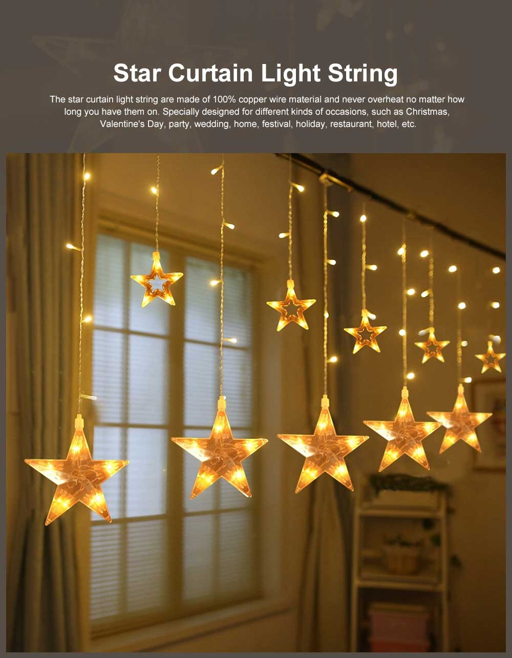 Star Curtain Light String Power Saving Waterproof IP65 LED Decor Lights 108 LED Star String Lights 8 Modes Stars Shaped String Lights with Remote for Indoor Outdoor 0