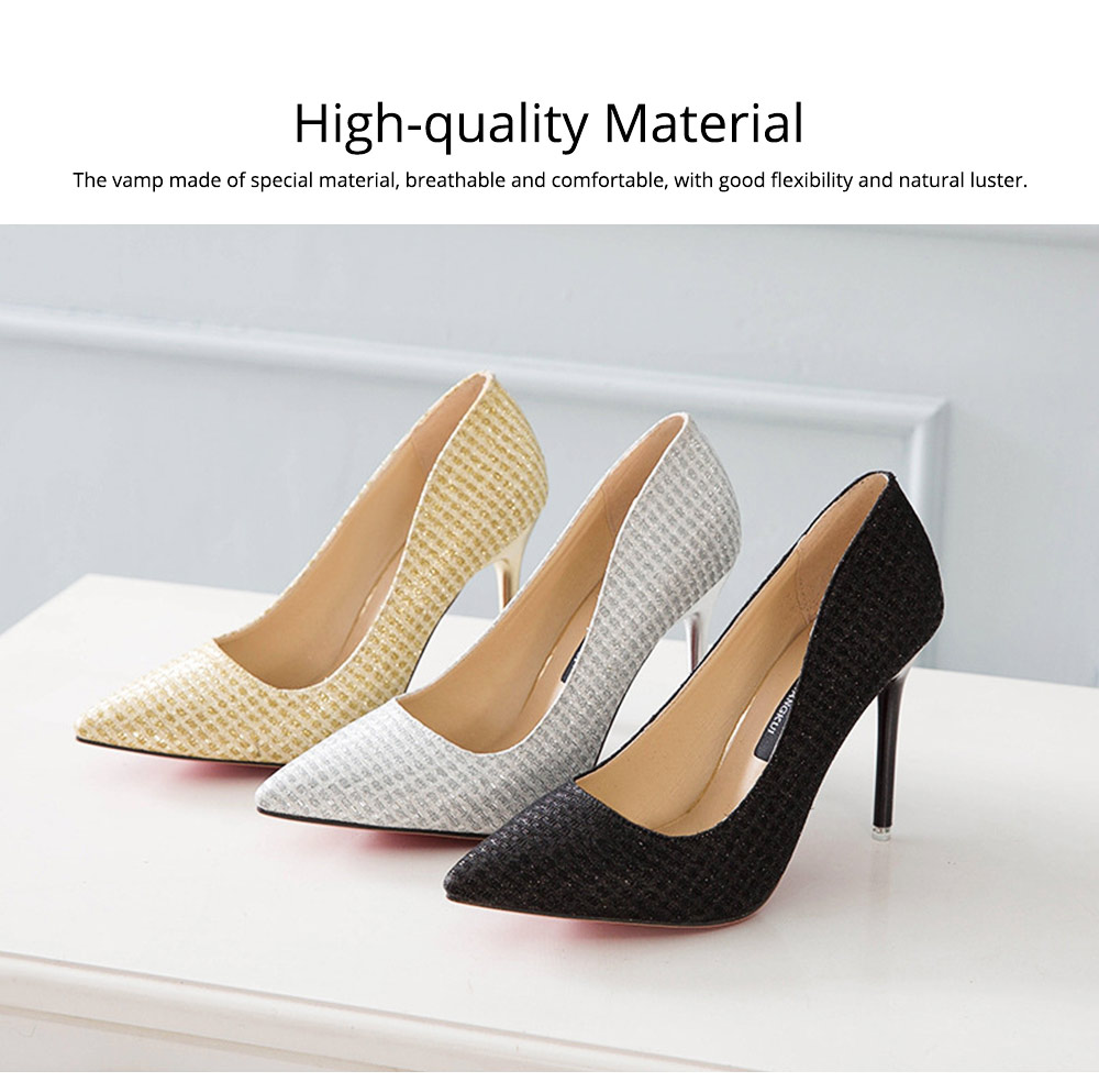 Women Pointy High-heeled Shiny Shoes, Shiny Heel for Wedding, Parties & Banquet High Heels 1