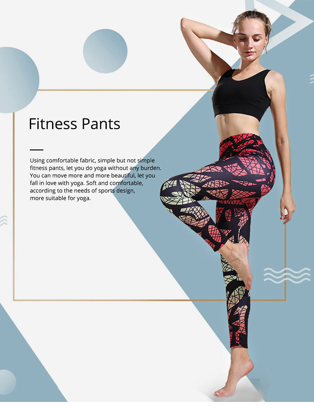 Sexy Fitness Pants with Explosive Fashion, Mixed Gradual Geometric Printed Yoga Pants for Female 0