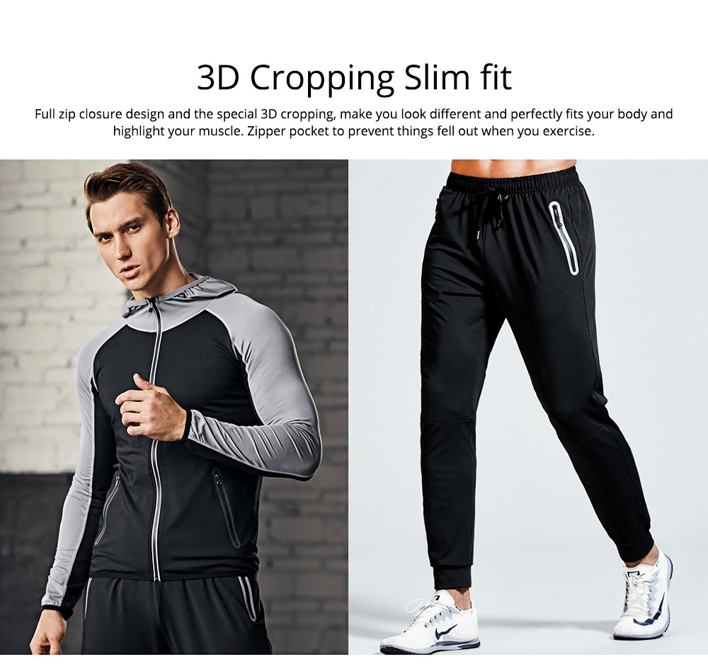 Men 3 Pieces Sports Suits Zip Up Hoodie Slim Fit Workout Hooded Sweatshirts with Zipper Pockets 5