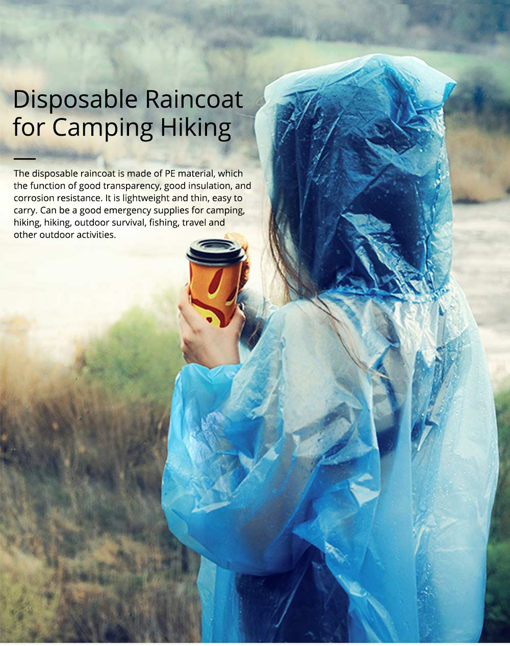 Portable Disposable Slim Raincoat Ponchos for Adults Teens, Transparent Raincoat for Camping Hiking Outdoors 0