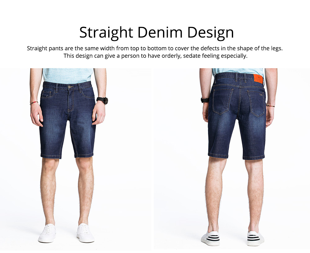 Men's Casual Five-cent Trousers, Slim Thin Bull-puncher Knickers Straight Denim Shorts for Men Youth 2