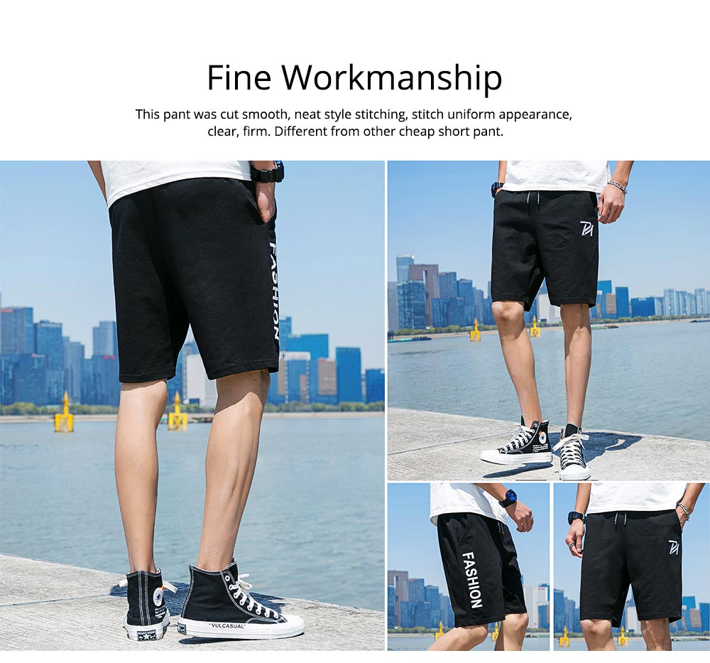 Men Summer Short Pants with Pockets, Causal Beach Shorts with Elastic Waist Drawstring, Lightweight Loose Shorts 1