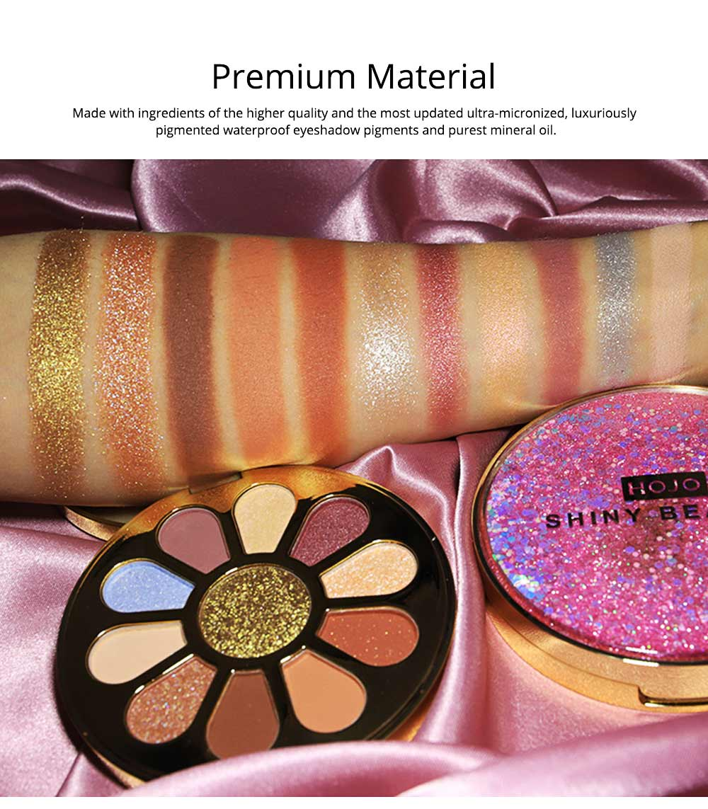 11 Colors Round Eyeshadow Palette, Shiny Palette with Brush, Makeup Tools Best Gifts for Lady, Shimmer Eyeshadow 3
