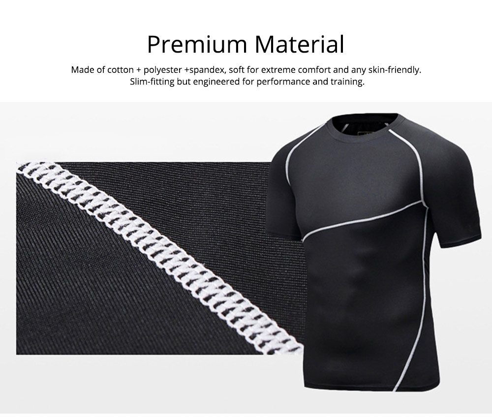 Men 2 Pieces Sports Suits, O-neck Slim Fit Workout Short Sleeve Sports T-short Cropped Pant with Zipper Pockets 3