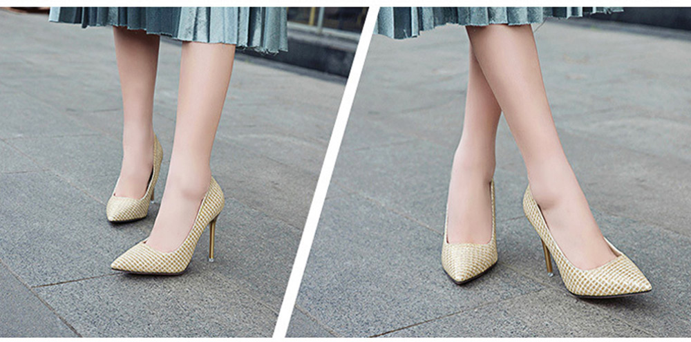 Women Pointy High-heeled Shiny Shoes, Shiny Heel for Wedding, Parties & Banquet High Heels 4