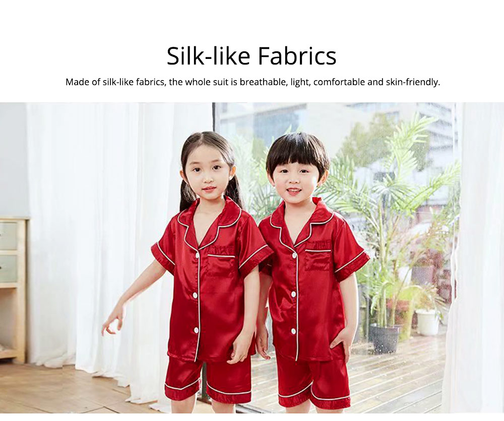 Summer Minimalist Pajamas Suit for Boys Girls, Open Shirts and Lapels Nightclothes, Silk-like Household Suit 3
