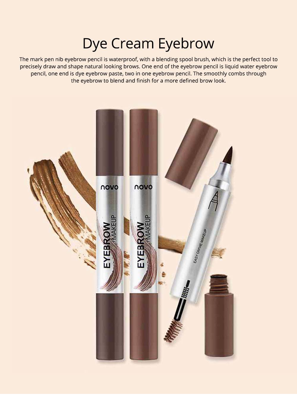 Dye Cream Eyebrow, Mark Pen Nib Eyebrow Pencil, Waterproof Eyebrow Pencil with Brush 2 Colors Available 0