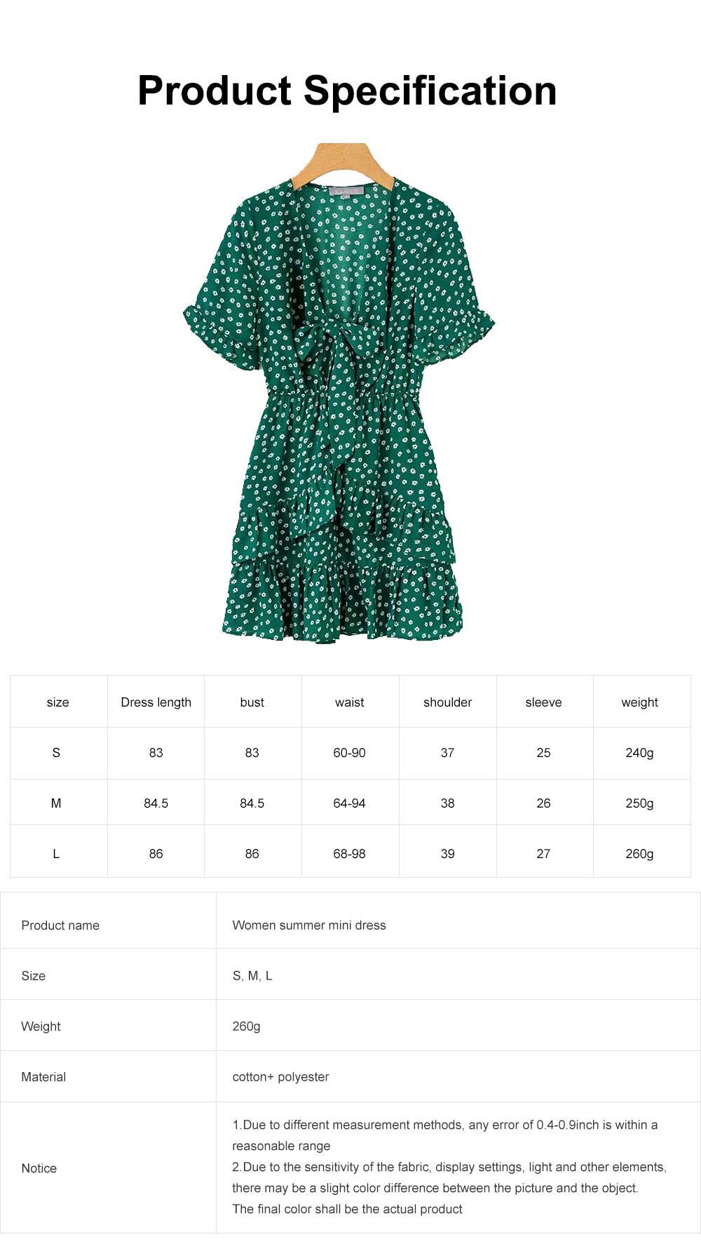 Women Summer Mini Dress, Ruffle Sleeve Floral Print V-neck Dress, High Waisted A Line Beach Dresses for Women 6