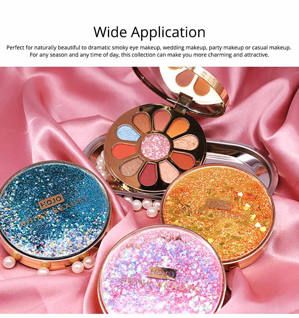 11 Colors Round Eyeshadow Palette, Shiny Palette with Brush, Makeup Tools Best Gifts for Lady, Shimmer Eyeshadow 5