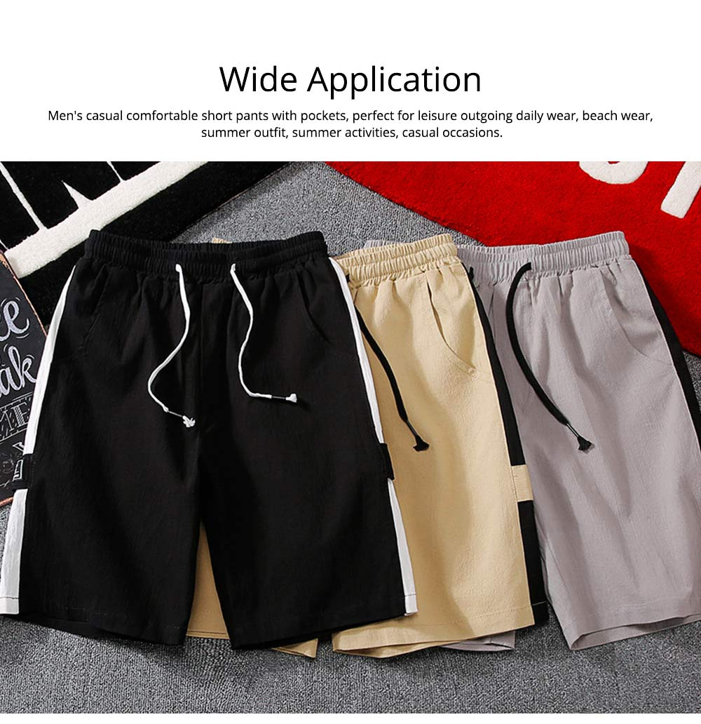 Men's Cotton Casual Shorts with Elastic Waist Drawstring, Classic Fit Short Summer Beach Shorts for Youth Men 5